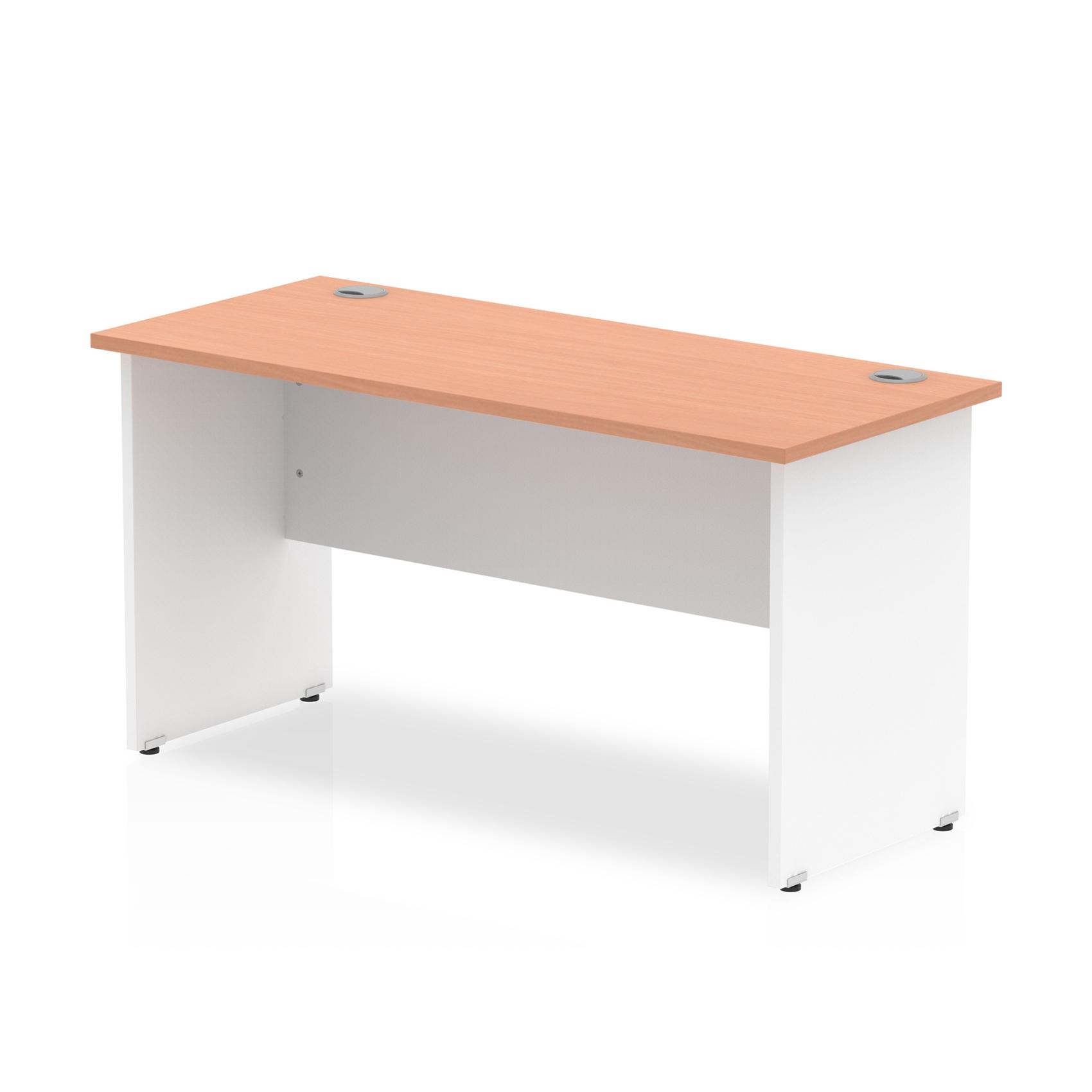 Trexus Desk Rectangle Panel End 1400x600mm Beech Top White Panels Ref TT000093