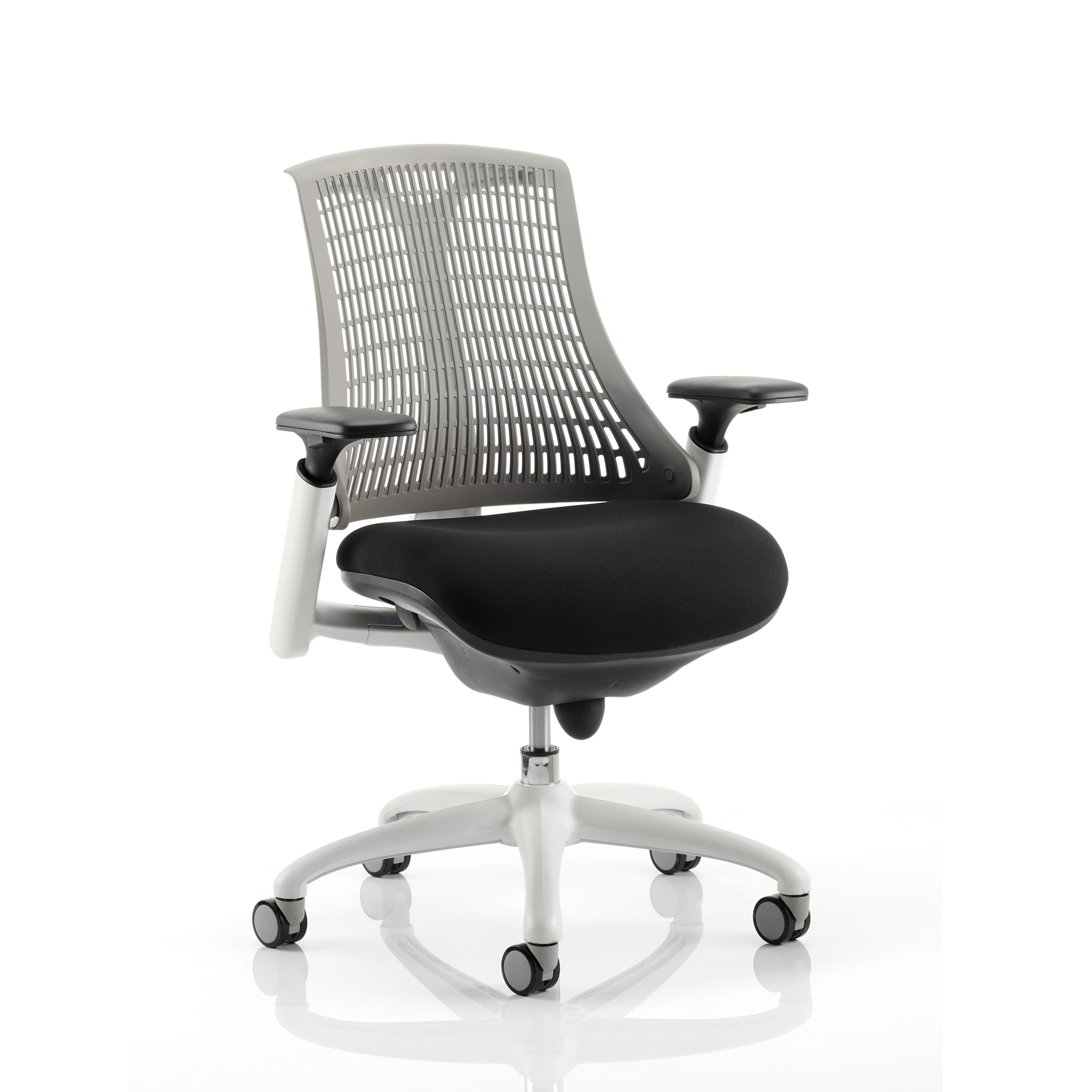 Trexus Flex Task Operator Chair With Arms Black Fabric Seat Grey Back White Frame Ref KC0061