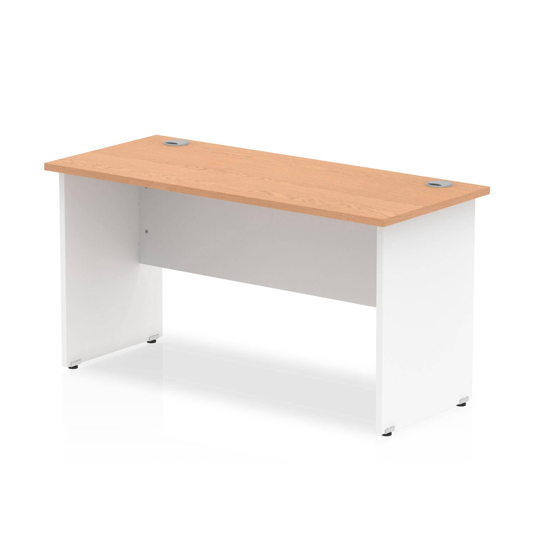 Trexus Desk Rectangle Panel End 1400x600mm Oak Top White Panels Ref TT000095