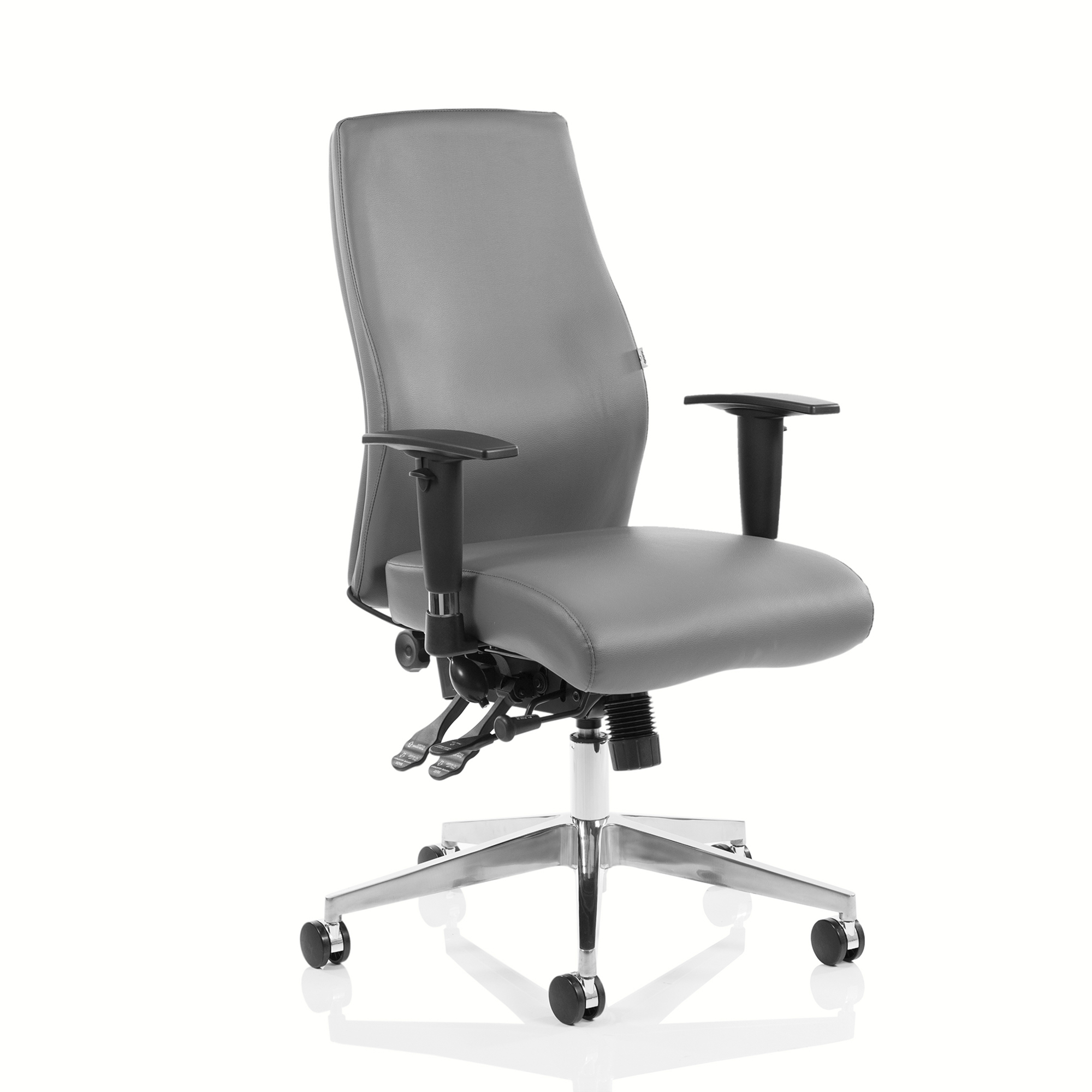 Task seating Adroit Onyx Ergo Posture Chair Without Headrest With Arms Bonded Leather Grey Ref OP000223