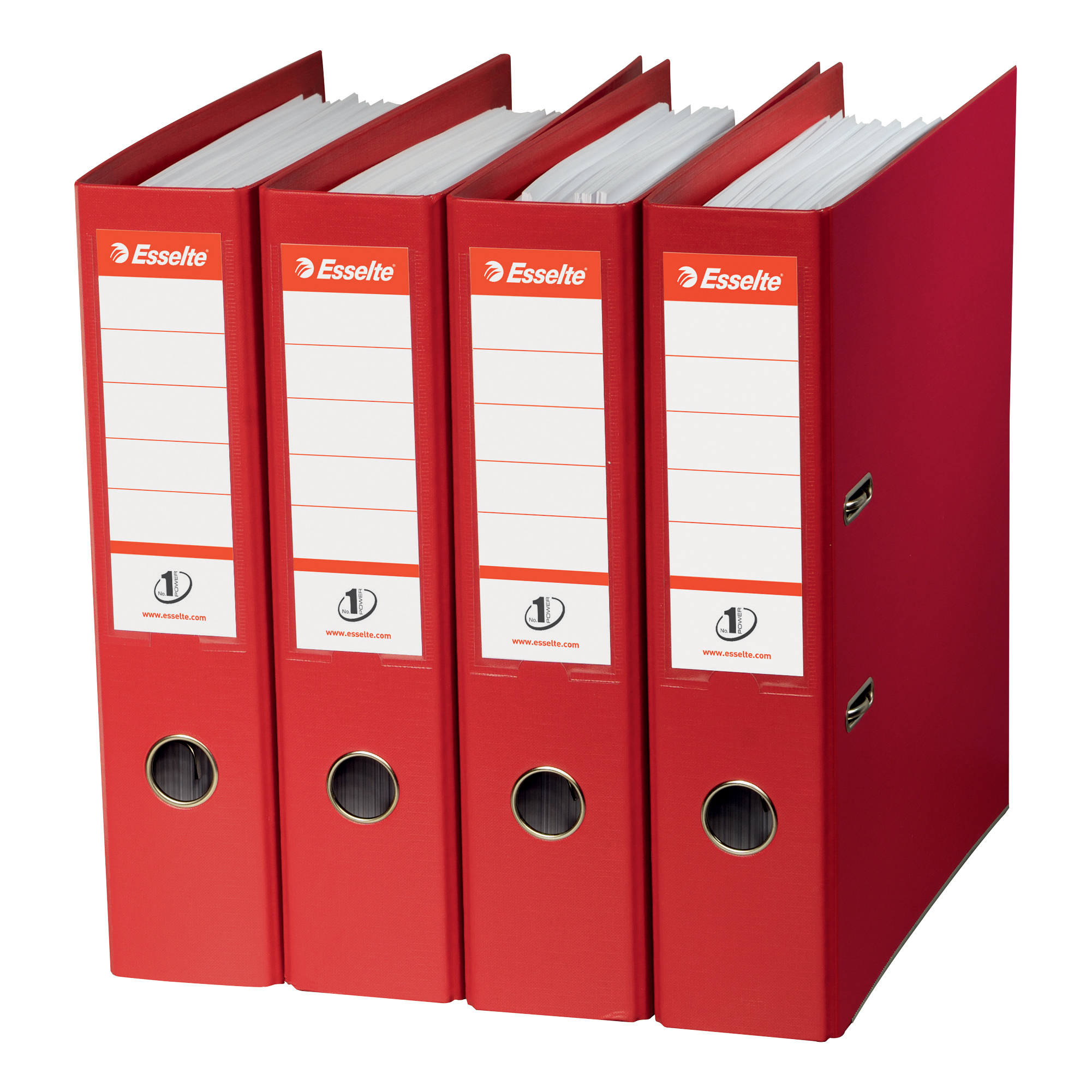 Esselte No. 1 Power Lever Arch File PP Slotted 75mm Spine A4 Red Ref 811330 Pack 10