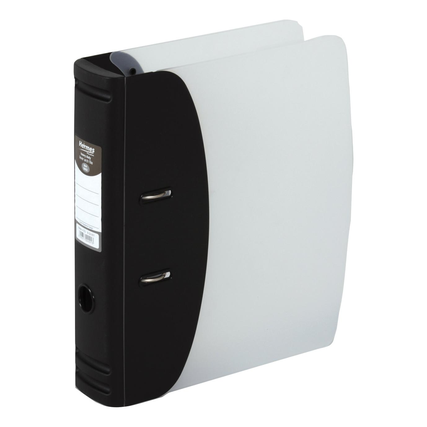 Lever arch file Hermes Lever Arch File Polypropylene 80mm A4 Black Ref 832001