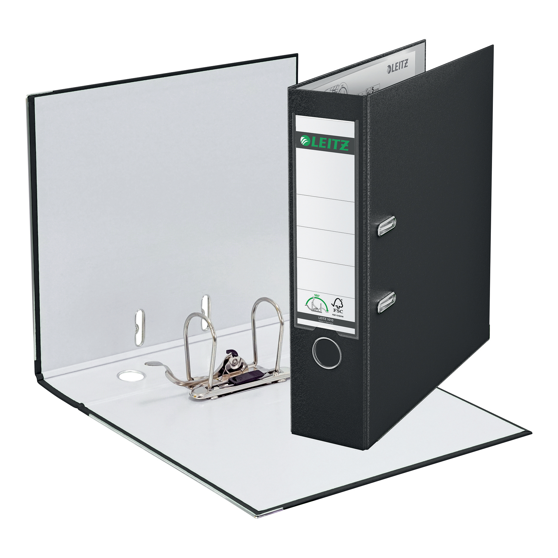 Leitz Lever Arch File Plastic 80mm Spine A4 Black Ref 10101095 [Pack 10]