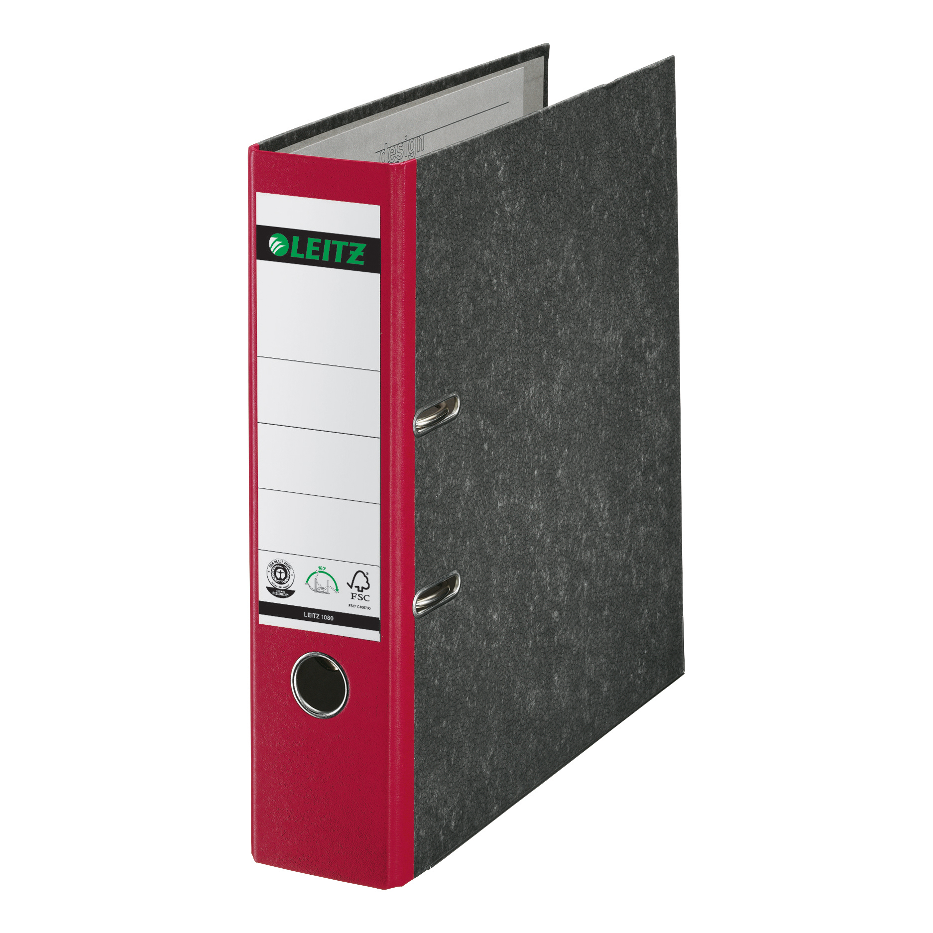 Leitz FSC Standard Lever Arch File 80mm Capacity A4 Red Ref 10801025 [Pack 10]