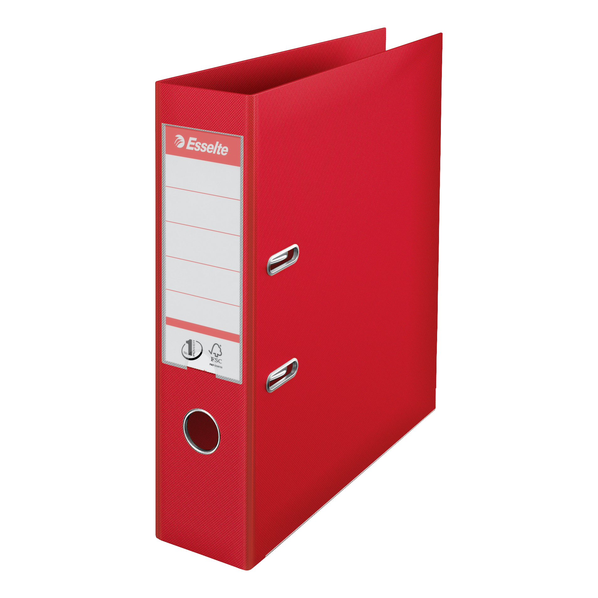 Esselte No. 1 Lever Arch File PP Slotted 75mm Spine A4 Red Ref 879983