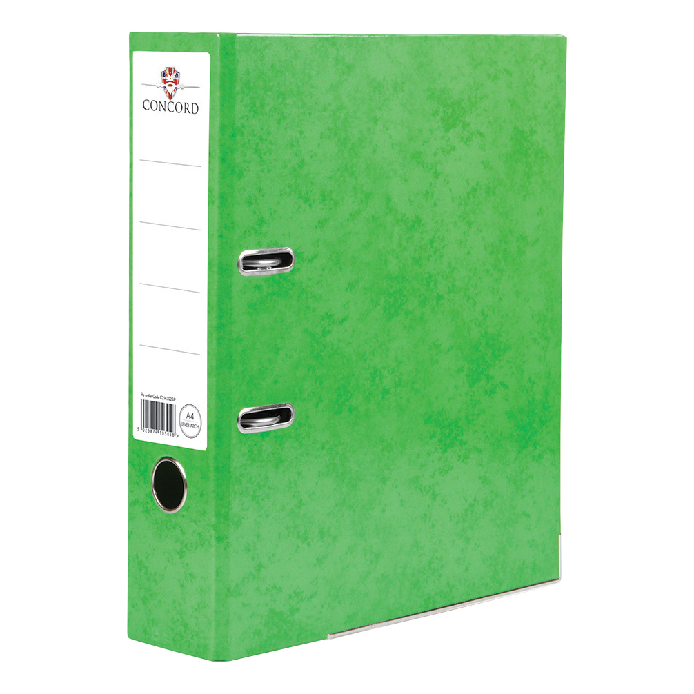 Concord Contrast Lever Arch File Laminated Capacity 70mm A4 Lime Ref 214702 [Pack 10]