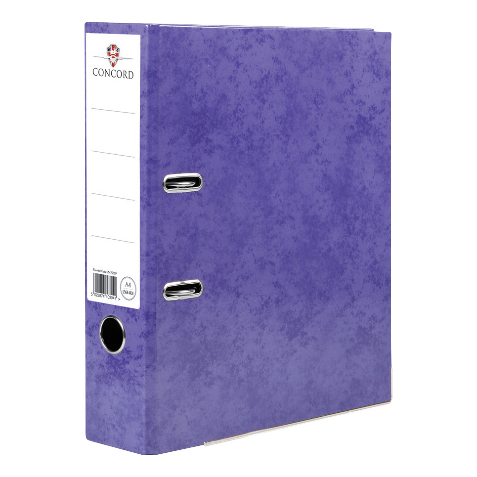 Concord Contrast Lever Arch File Laminated Capacity 70mm A4 Purple Ref 214705 [Pack 10]