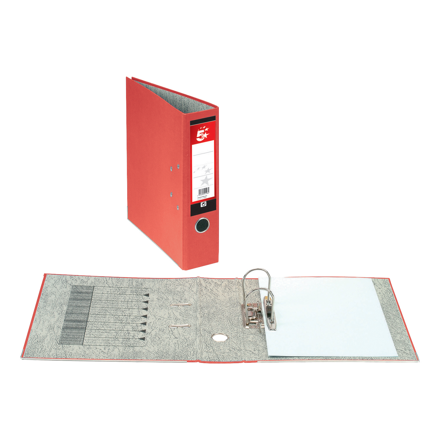 5 Star Office Lever Arch File 70mm Foolscap Red