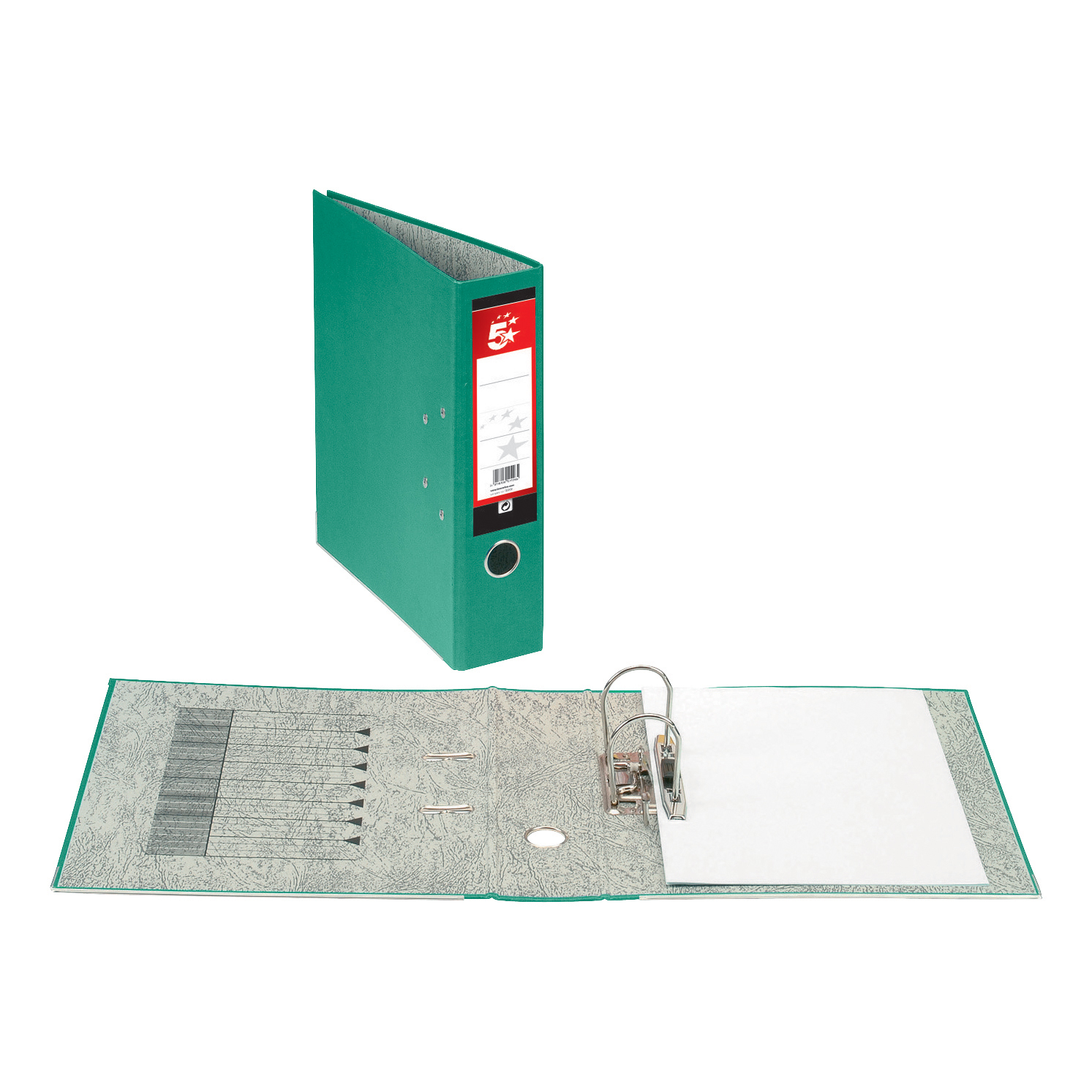Image for 5 Star Office Lever Arch File 70mm Foolscap Green [Pack 10]