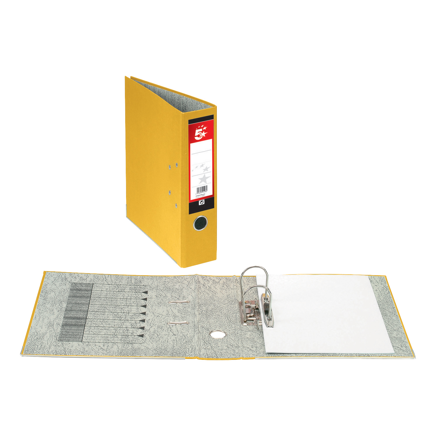 Image for 5 Star Office Lever Arch File 70mm Foolscap Yellow [Pack 10]