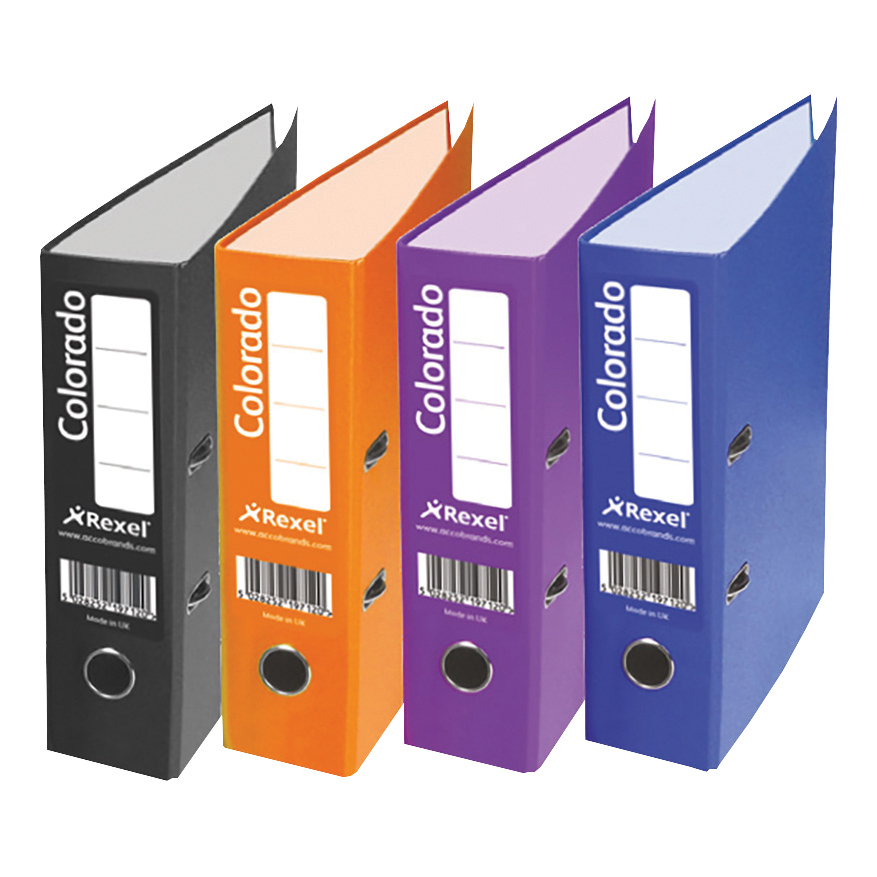 Rexel Colorado Lever Arch File Plastic 80mm Spine A4 Purple Ref 28847EAST [Pack 10]