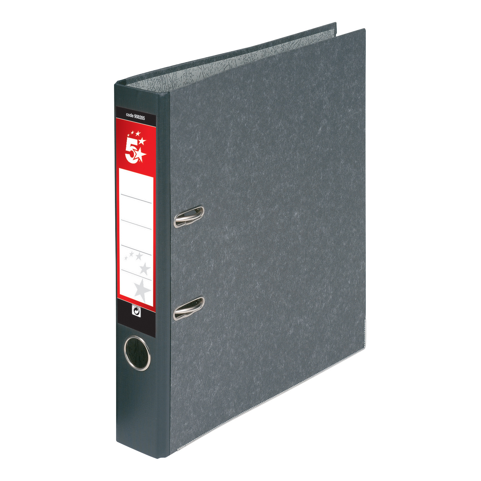 5 Star Office Mini Lever Arch File 50mm Spine Foolscap Cloudy Grey Pack 10