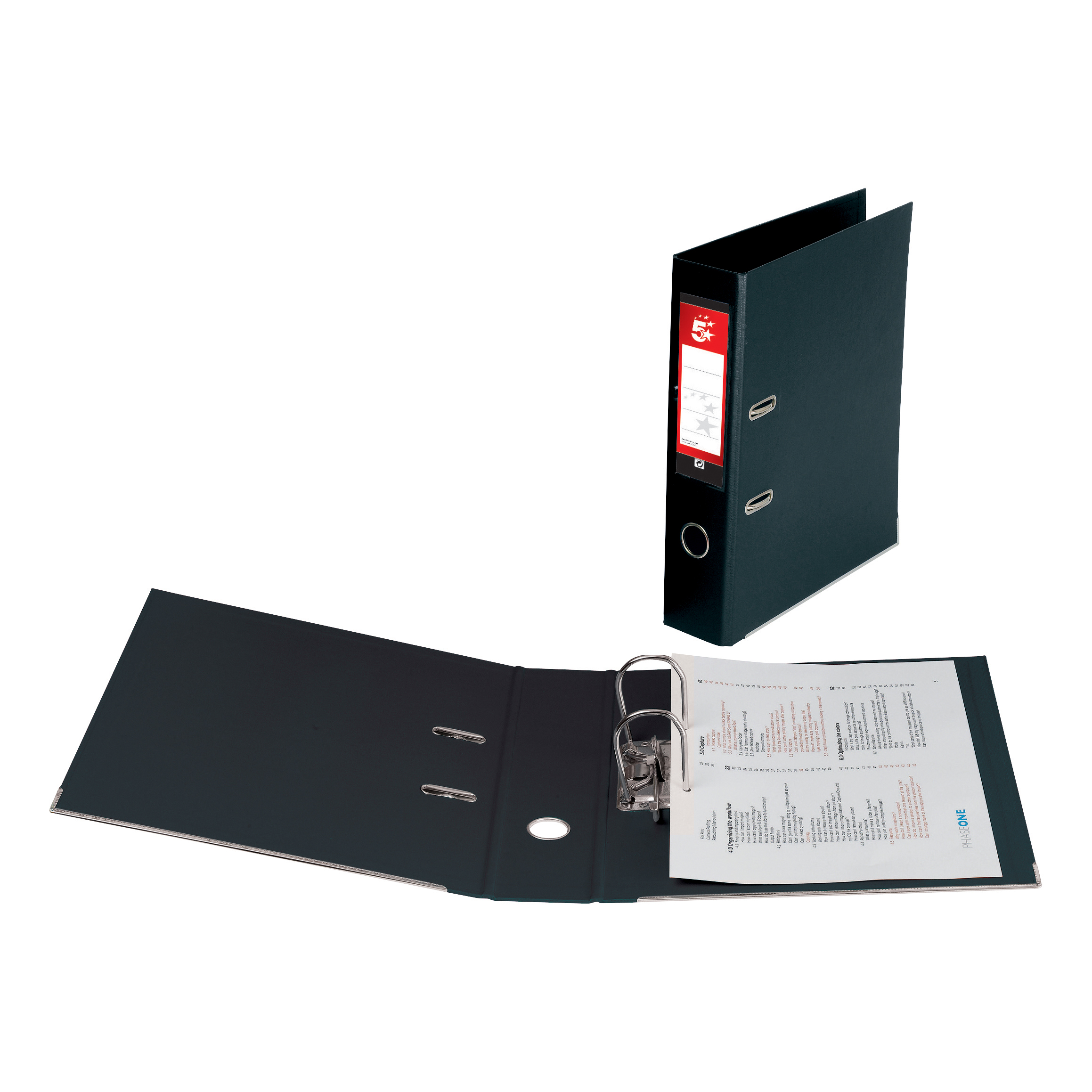 5 Star Office Lever Arch File Polypropylene Foolscap Black