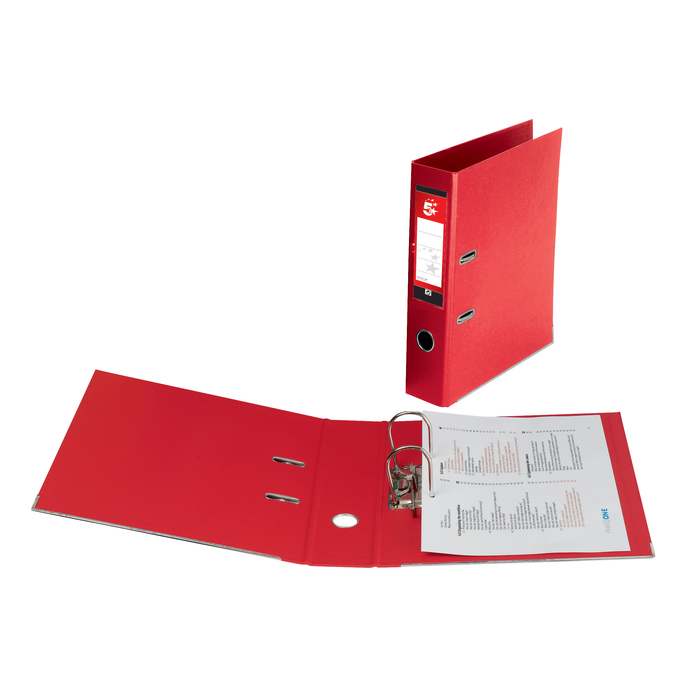 5 Star Office Lever Arch File Polypropylene Foolscap Red