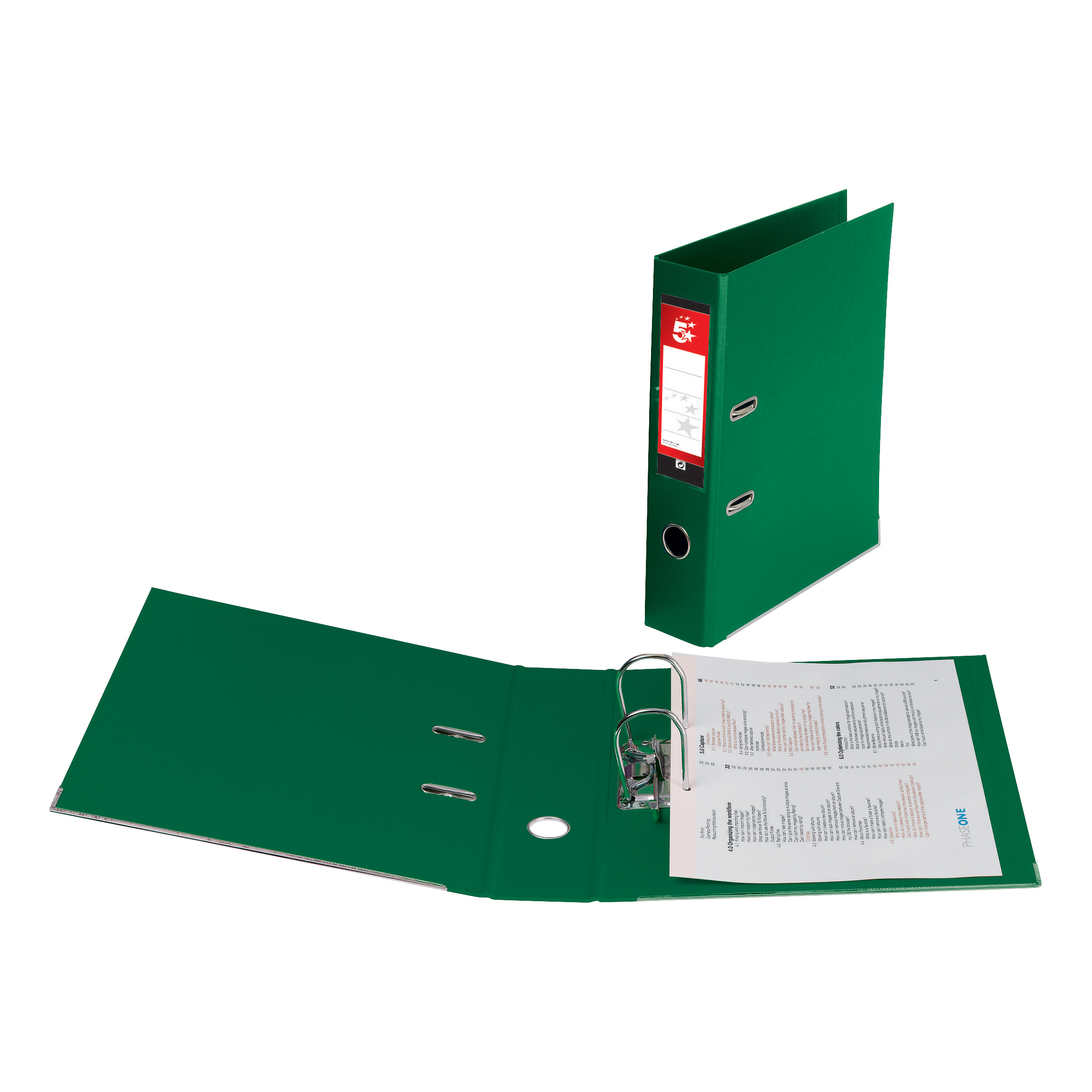 5 Star Office Lever Arch File Polypropylene Capacity 70mm Foolscap Green Pack 10