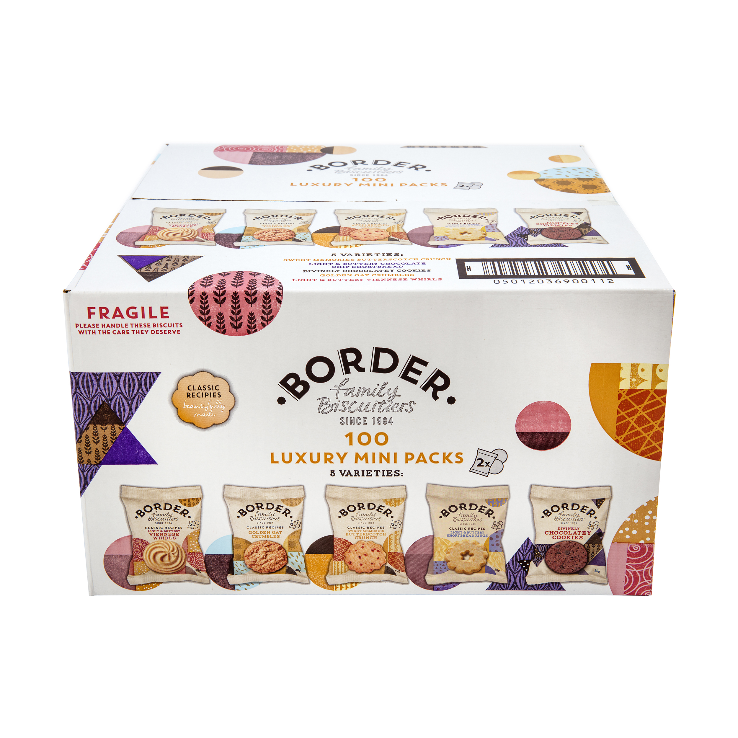 Biscuits Border Luxury Biscuits 5 Varieties Mini Twinpack Ref 0401049 Pack 100