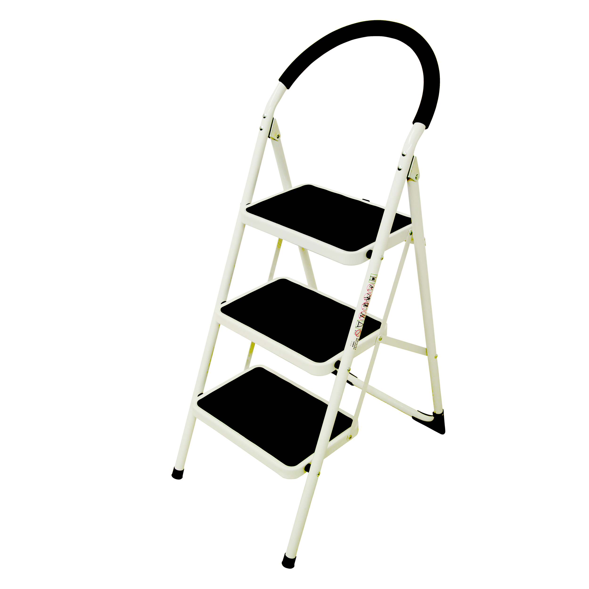 Cleaning Chemicals Folding Step Ladder 3 Tread Capacity 150kg White Frame