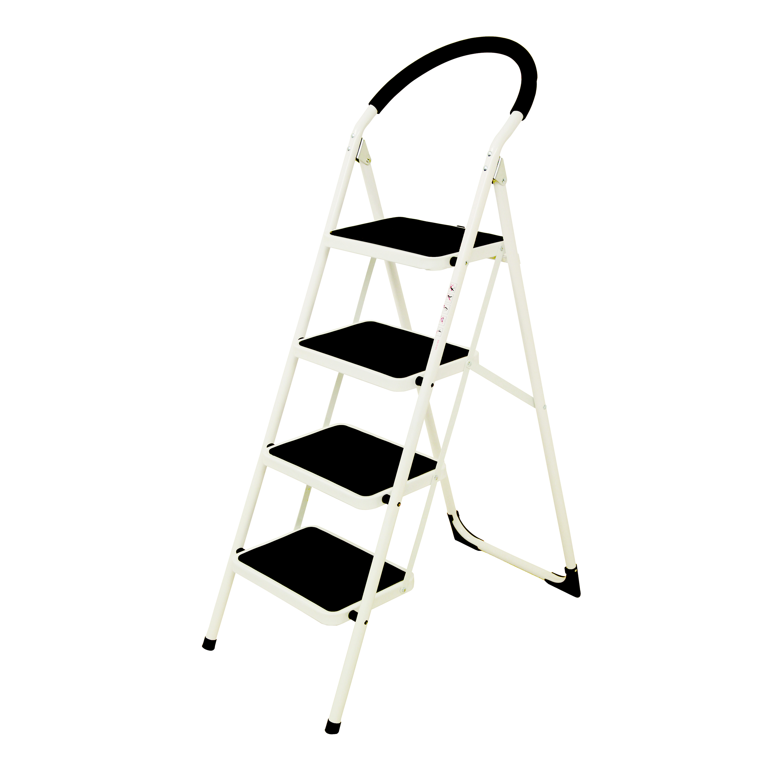Cleaning Chemicals Folding Step Ladder 4 Tread Capacity 150kg White Frame