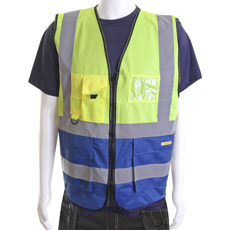 BSeen High-Vis Two Tone Executive Waistcoat Medium Yellow/Royal Ref HVWCTTSYRM *Up to 3 Day Leadtime*