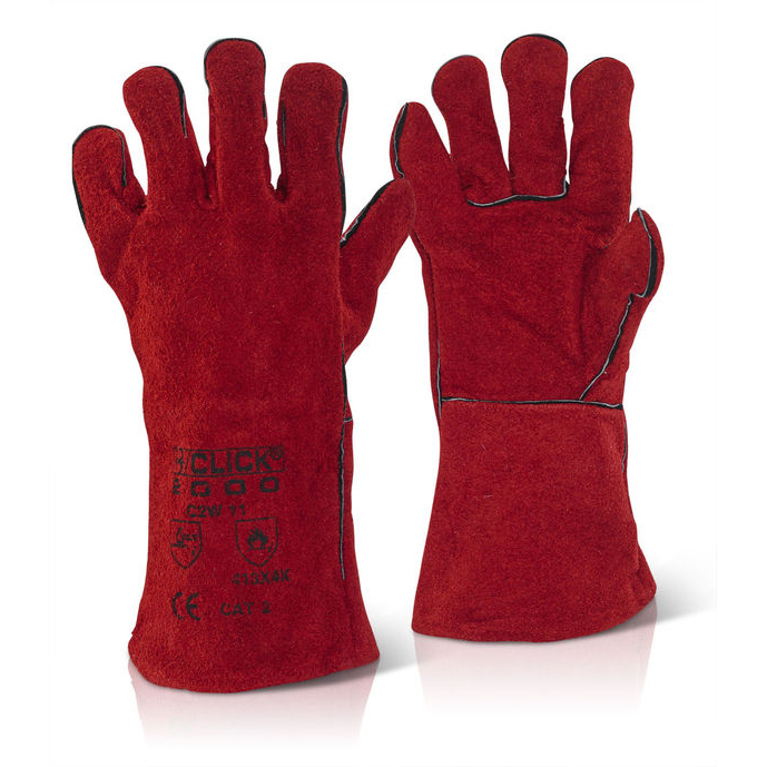 Click2000 Red Welders Gauntlet 14inch Cat 2 Red Ref C2W [Pack 60] Up to 3 Day Leadtime