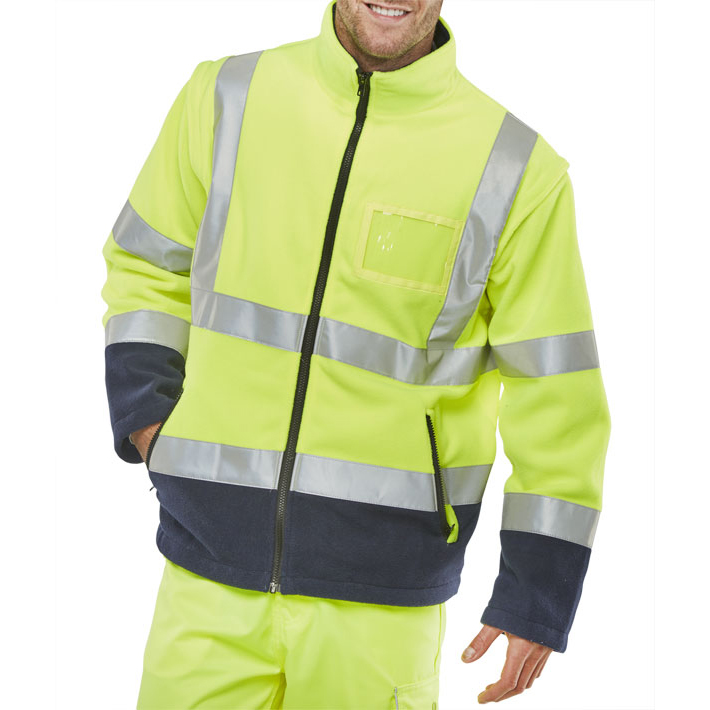 B-Seen Hi-Vis Two Tone Fleece Jacket Small Saturn Yellow/Navy Ref BD231SYNS *Up to 3 Day Leadtime*