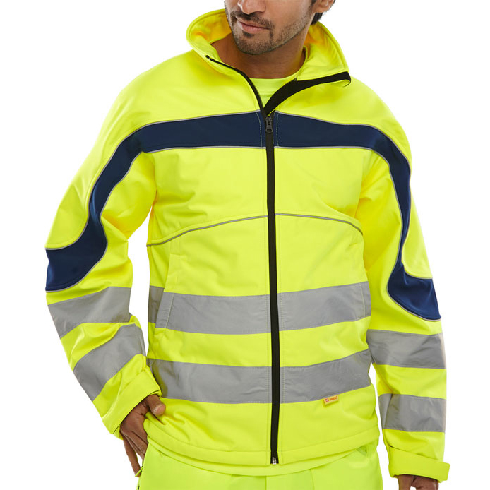 B-Seen Eton High Visibility Soft Shell Jacket 5XL Saturn Yellow/Navy Ref ET40SY5XL *Up to 3 Day Leadtime*