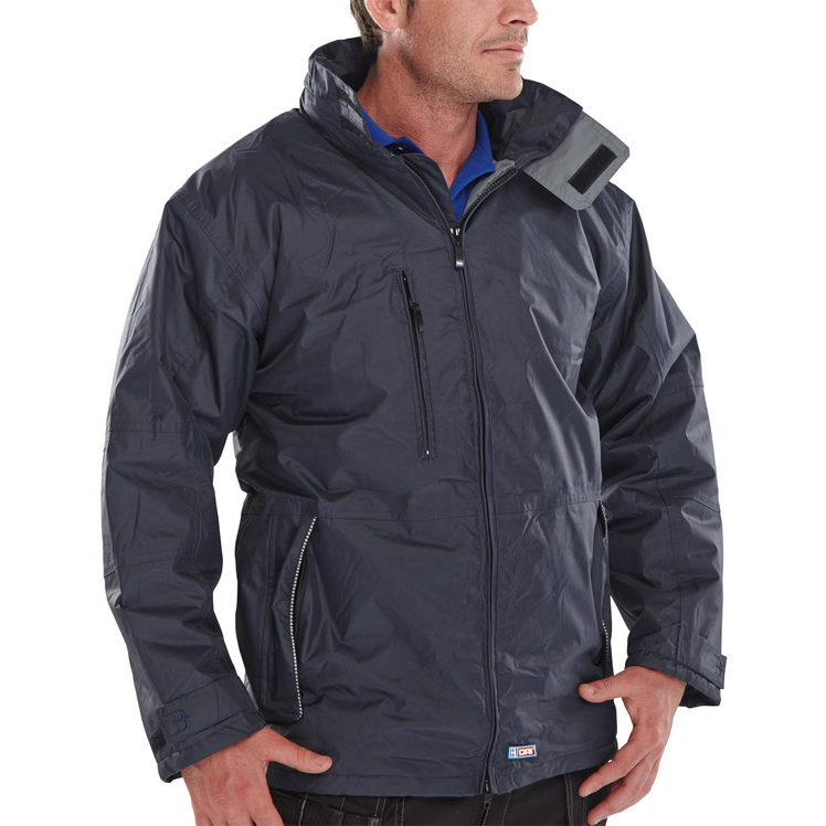 B-Dri Weatherproof Mercury Jacket with Zip Away Hood 2XL Navy Blue Ref MUJNXXL *Up to 3 Day Leadtime*