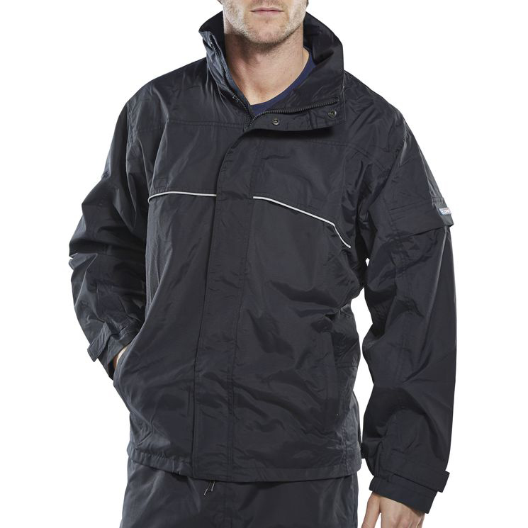B-Dri Weatherproof Springfield Jacket Hi-Vis Piping Medium Navy Blue Ref SJNM *Up to 3 Day Leadtime*