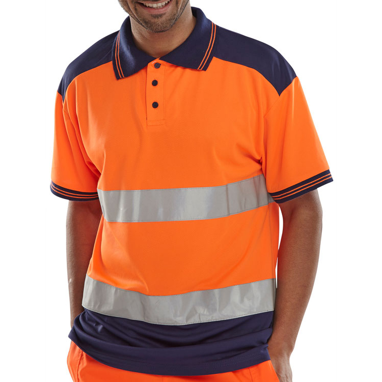 BSeen Polo Shirt Hi-Vis Polyester Two Tone L Orange/Navy Ref CPKSTTENORL Up to 3 Day Leadtime