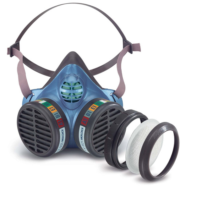 Moldex ABEK1P3 Half Mask with Replaceable Particulate Filters Blue Ref M5984 *Up to 3 Day Leadtime*