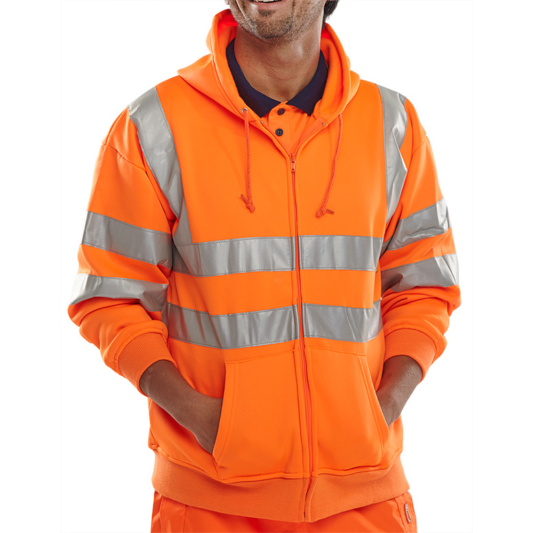 B-Seen Sweatshirt Hooded Hi-Vis Polyester Pockets L Orange Ref BSHSSENORL Up to 3 Day Leadtime