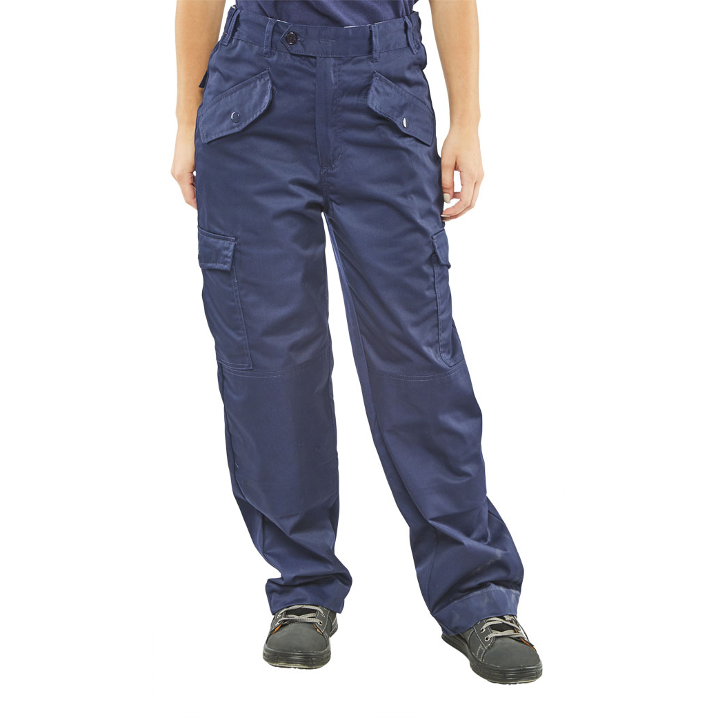 Super Click Workwear Ladies Polycotton Trousers Navy Blue 34 Ref LPCTHWN34 *Up to 3 Day Leadtime*