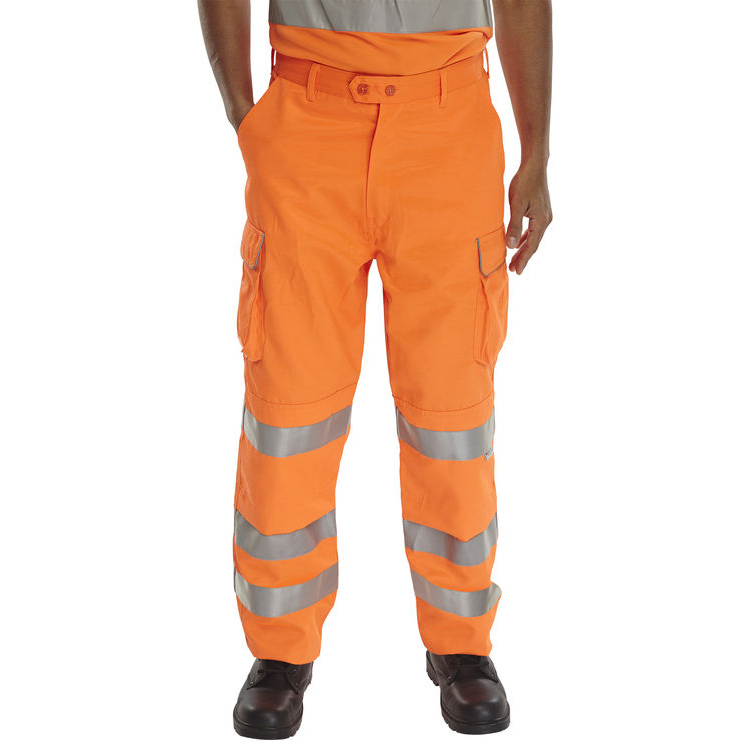 BSeen Rail Spec Trousers Teflon Hi-Vis Reflective 42-Tall Orange Ref RST42T Up to 3 Day Leadtime