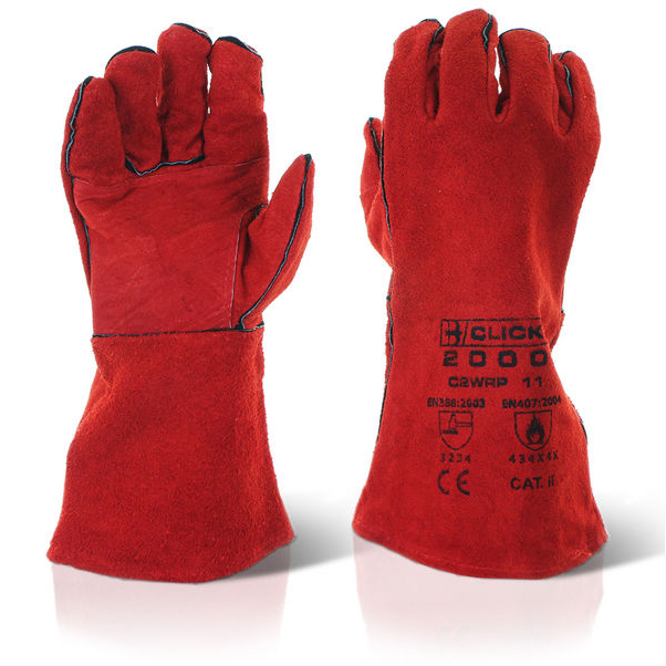 Click2000 Red Welders Patched Palm Red Ref C2WRP [Pack 60] *Up to 3 Day Leadtime*