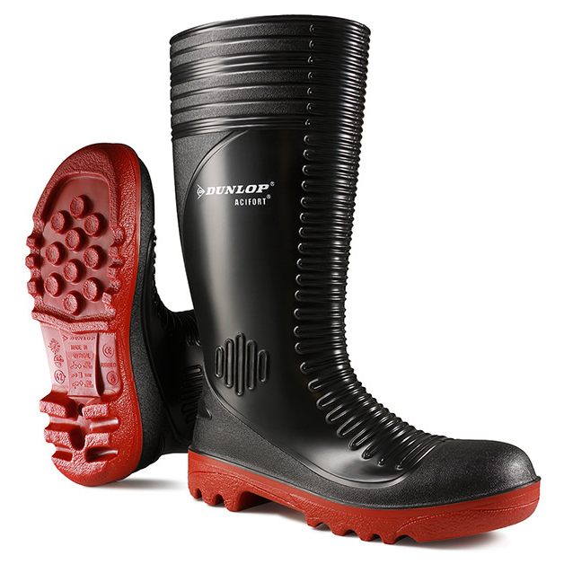 Dunlop Acifort Safety Wellington Boots Ribbed Size 12 Black Ref A25293112 Up to 3 Day Leadtime