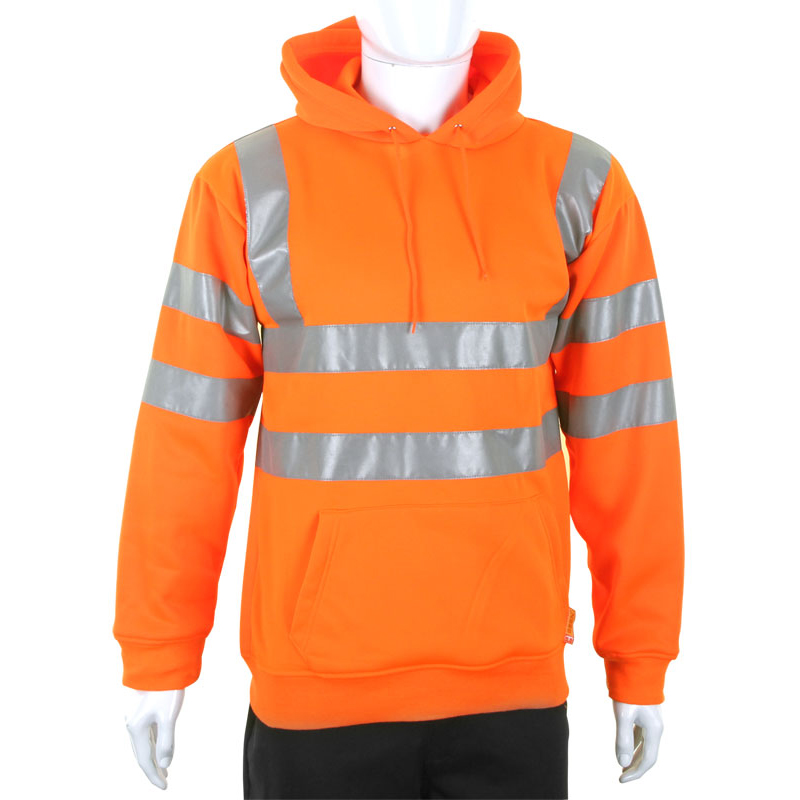 B-Seen Sweatshirt Hooded Hi-Vis 280gsm Large Orange Ref BSSSH25ORL Up to 3 Day Leadtime