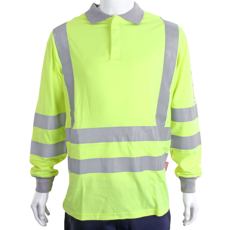 Click Arc Compliant Polo L-Sleeve Fire Retardant L Yellow Ref CARC12SYL *Up to 3 Day Leadtime*