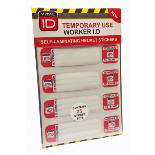 Vitalid Hard Hat ID Induction Stickers Ref WSID03 [Pack 25] *Up to 3 Day Leadtime*