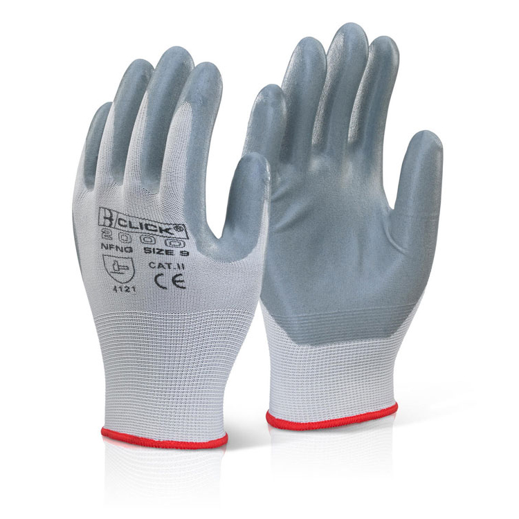 Click2000 Nitrile Foam Nylon Glove Grey 09 Grey Ref NFNG09 [Pack 100] Up to 3 Day Leadtime