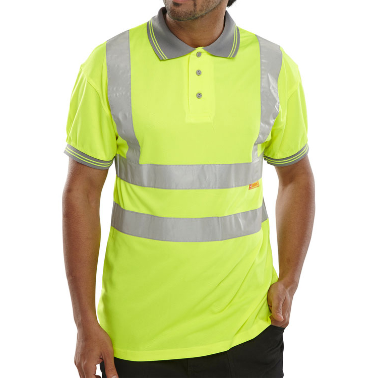 B-Seen Polo Shirt Hi-Vis Short Sleeved S Saturn Yellow Ref BPKSENSYS *Up to 3 Day Leadtime*
