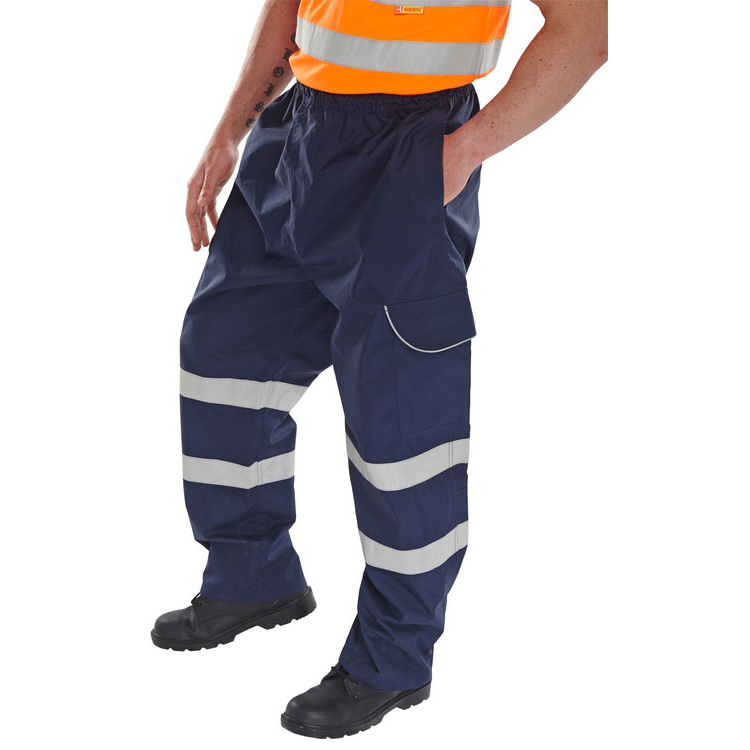 B-Dri Weatherproof Over Trousers Polyester Cargo Pockets M Navy Blue Ref BD118NM Up to 3 Day Leadtime