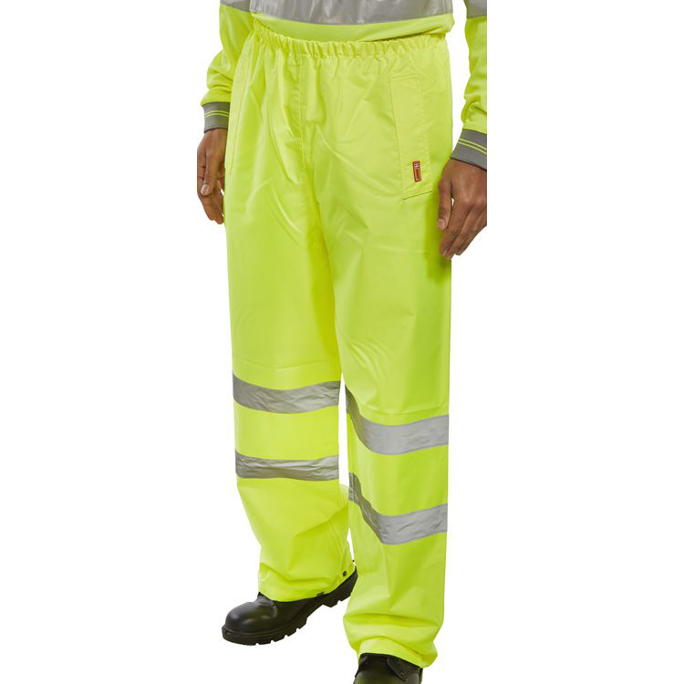 BSeen Traffic Trousers Hi-Vis Reflective Tape Large Saturn Yellow Ref TENSYL *Up to 3 Day Leadtime*