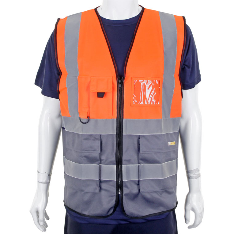 BSeen High-Vis Two Tone Executive Waistcoat Large Orange/Grey Ref HVWCTTORGYL *Up to 3 Day Leadtime*