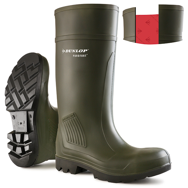 Dunlop Purofort Professional Safety Wellington Boot Size 8 Green Ref C46293308 Up to 3 Day Leadtime