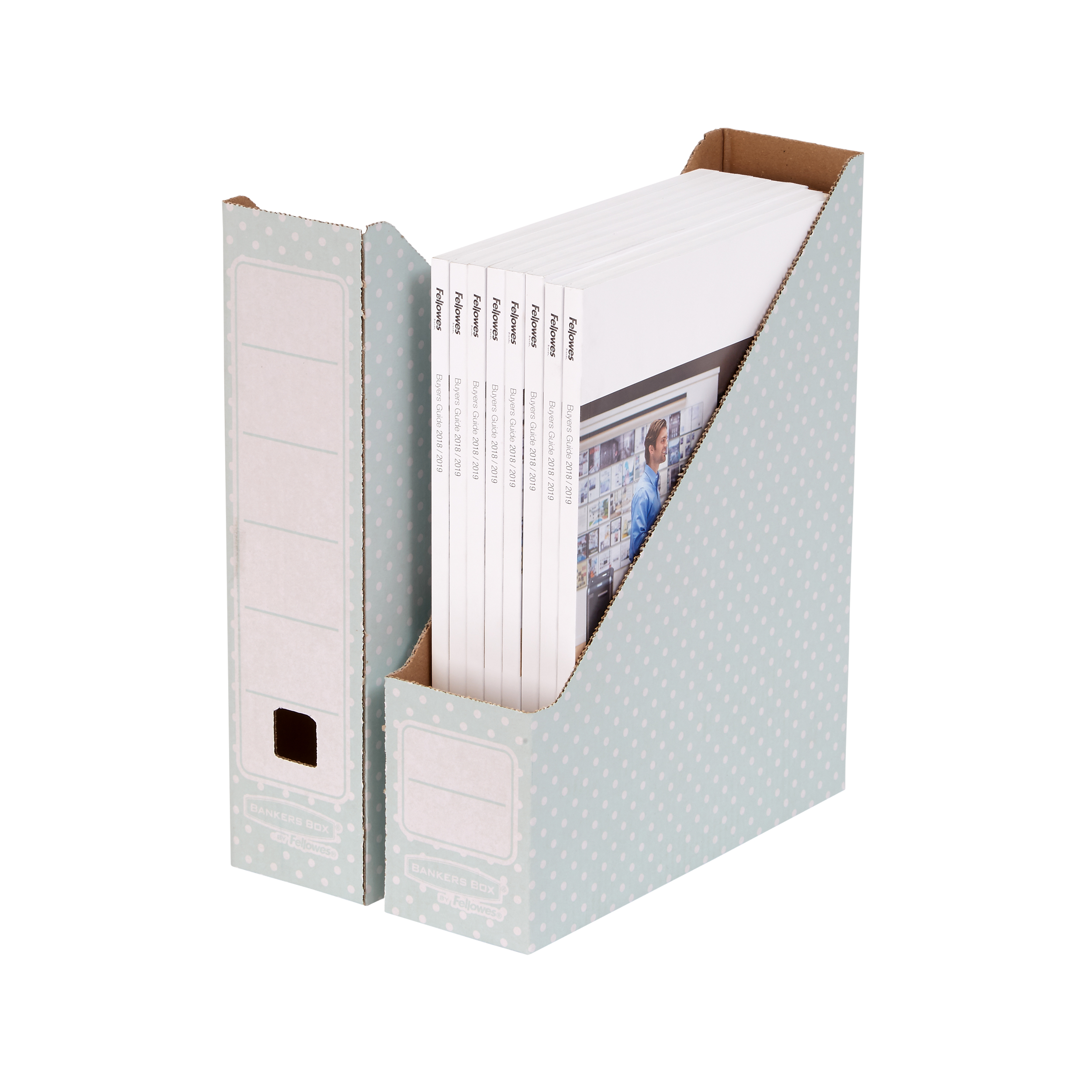 Bankers Box by Fellowes Magazine File Recycled FSC A4 Green/White Ref 4481501 Pack 10