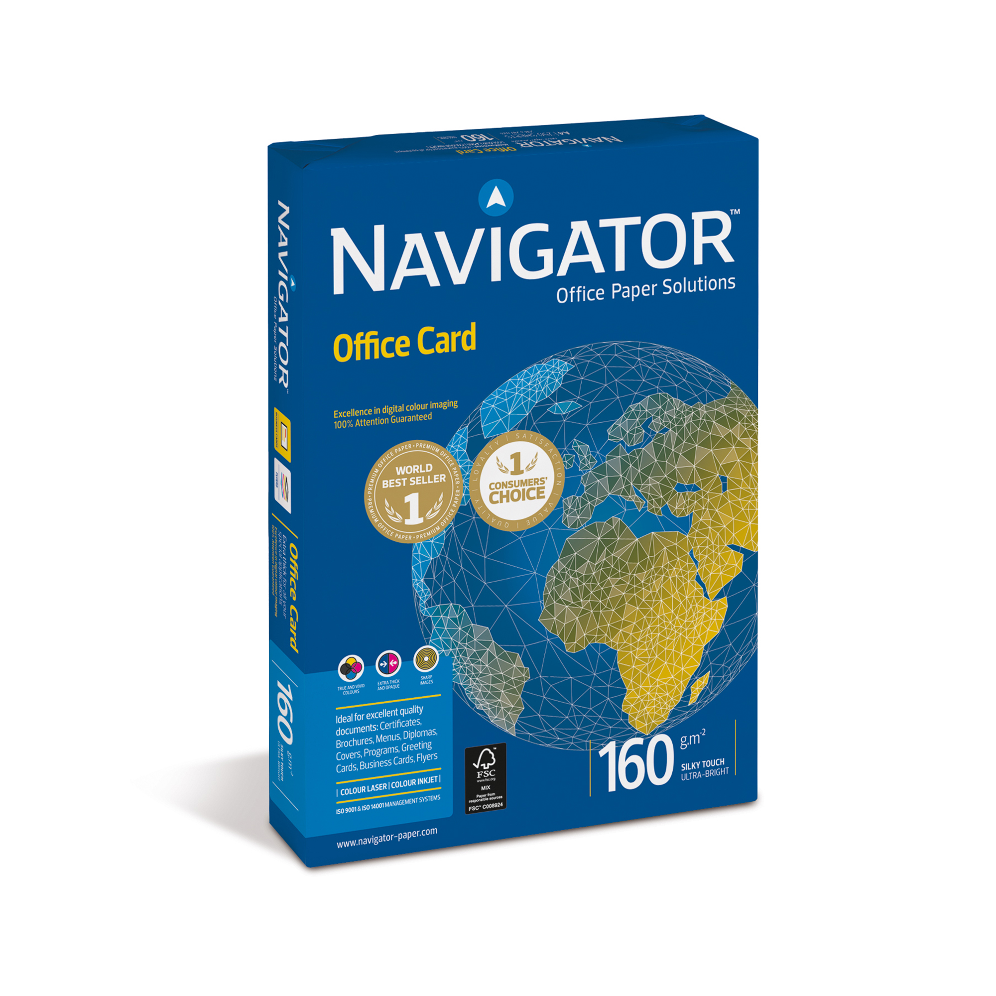 Card (160g+) Navigator Office Prem Card FSC High Qlty 160gsm A4 Bright WhtRefNOC1600001250ShtsREDEMPTIONApr-June20