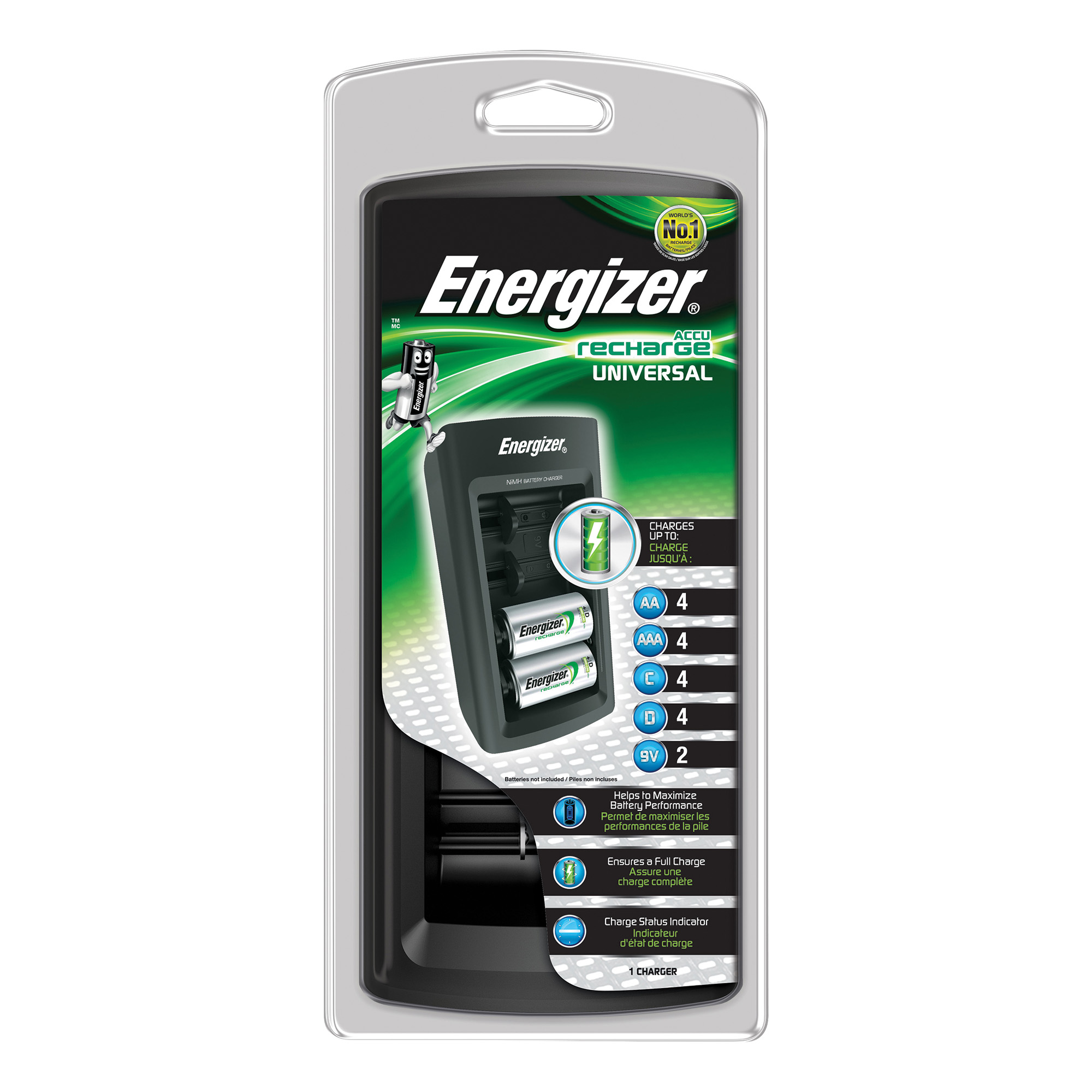 For All Sizes Energizer Universal Battery Charger CHEUF with Smart LED 2-5Hrs Time for AAA AA C D 9V Ref E301335700