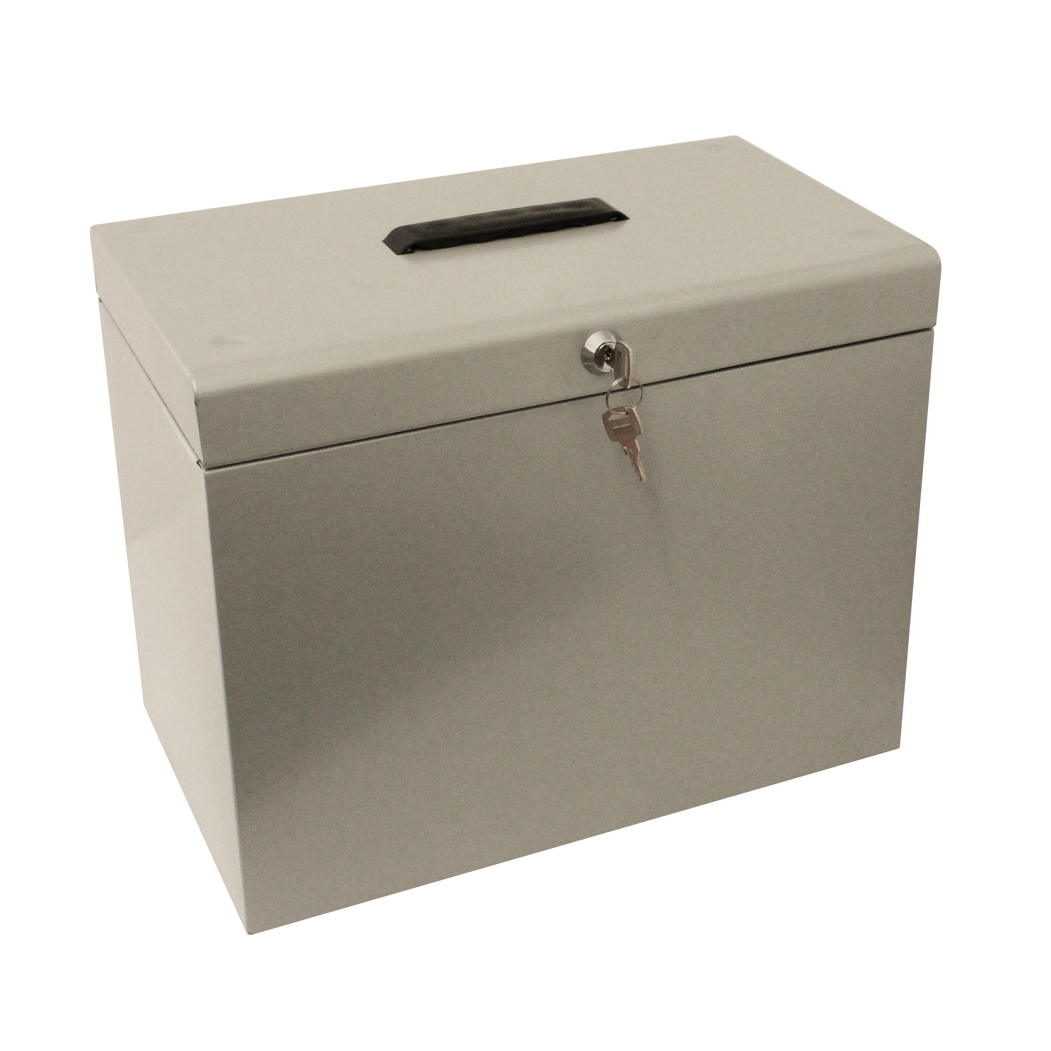 Storage Boxes Metal File Box with 5 Suspension Files and 2 Keys Steel A4 Silver