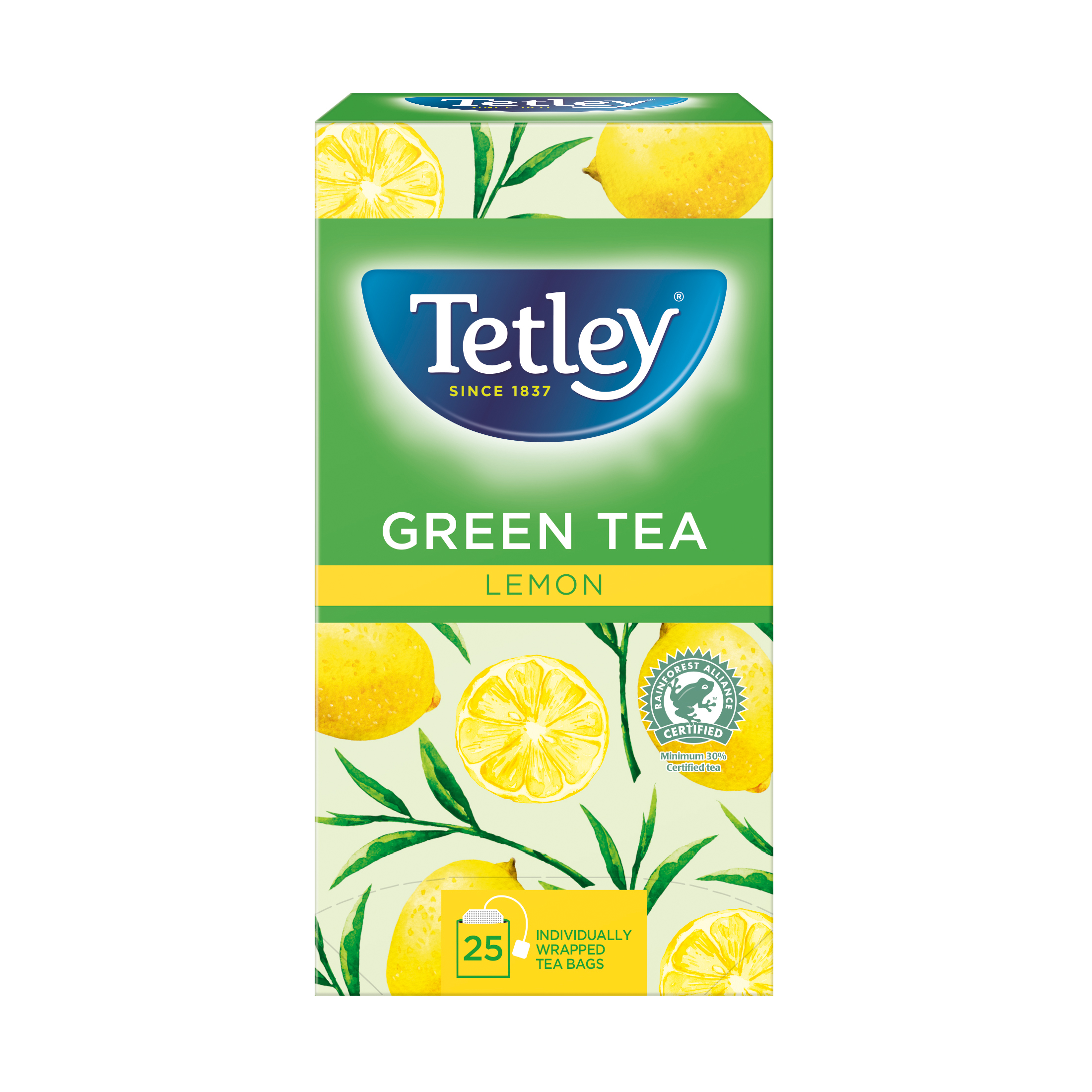 Tea Tetley Individually Enveloped Tea Bags Green Tea & Lemon Ref 1296 Pack 25