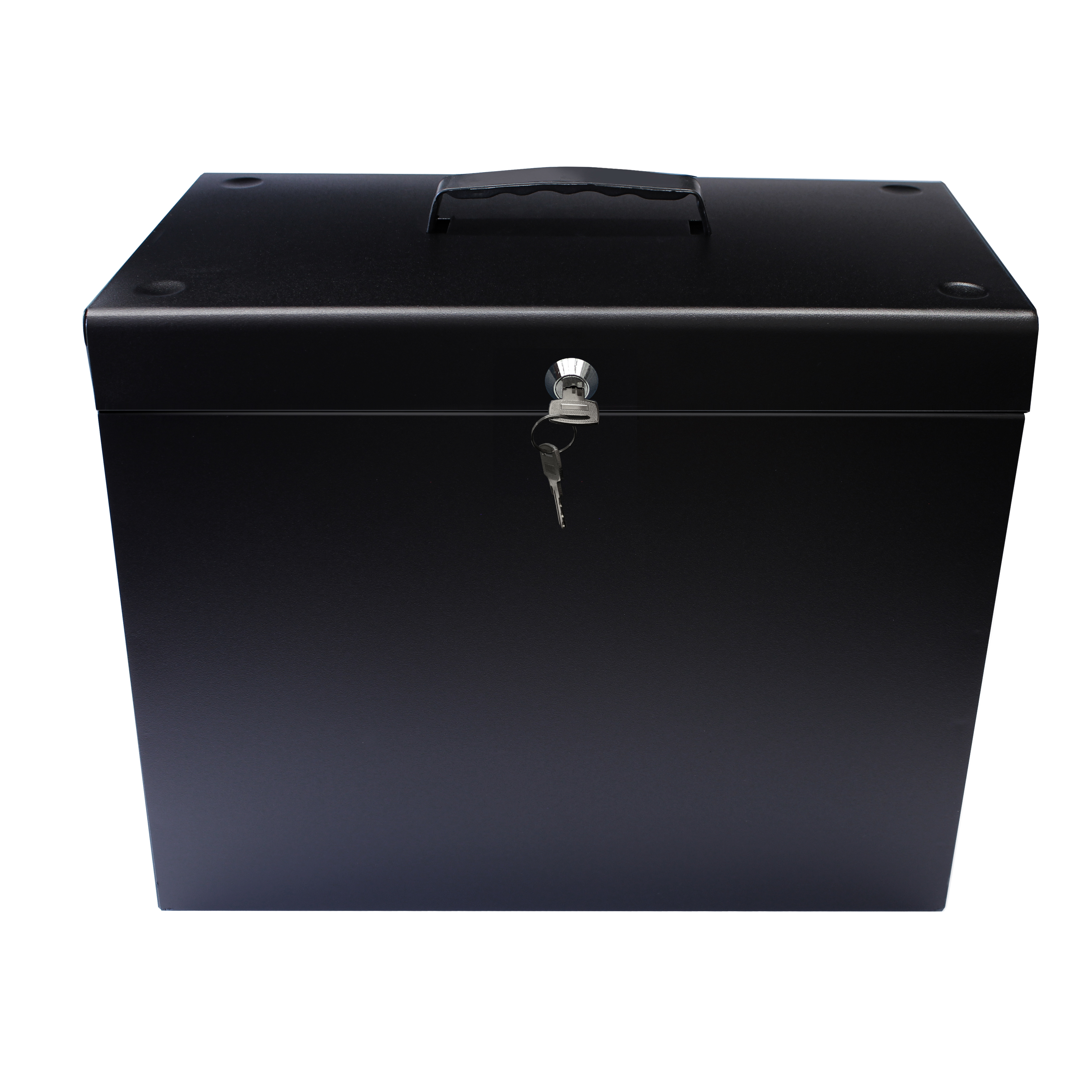 Storage Boxes Metal File Box with 5 Suspension Files and 2 Keys Steel A4 Black